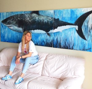 great white shark, art, great white shark painting, Whitney L. Anderson