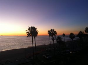 Aliso Beach Palm trees With A Glowing Sunset And Offshore Ocean Texture From The Hill.jpg