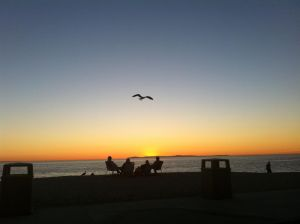 Aliso Beach Sunset With Beach Chairs Friends And A Watchful Seagull.jpg