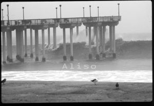 Large Wave Pushing Through Aliso Pier